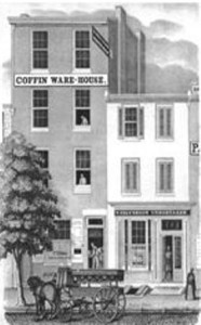 Helverson Funeral Home Coffin Warehouse, engraving from Nicholas Wainwright book